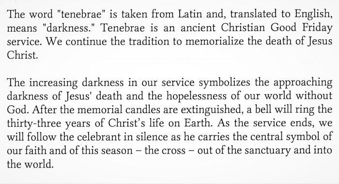 TENEBRAE – A Service of Shadows