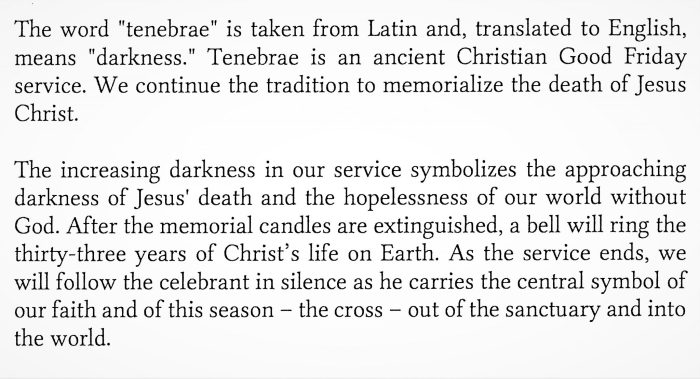 TENEBRAE – A Service of Shadows