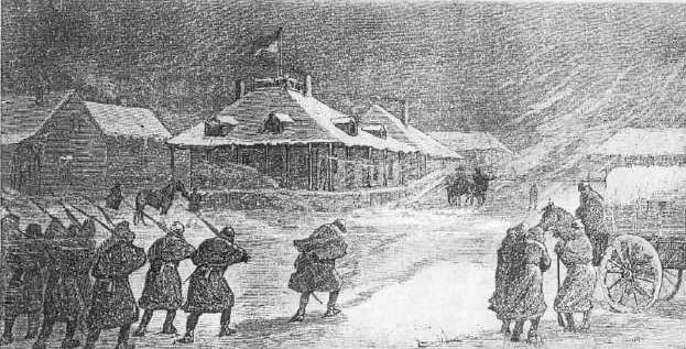General Crook's Headquarters, Fort Fetterman - Etching from Harper's Weekly, December 16, 1876