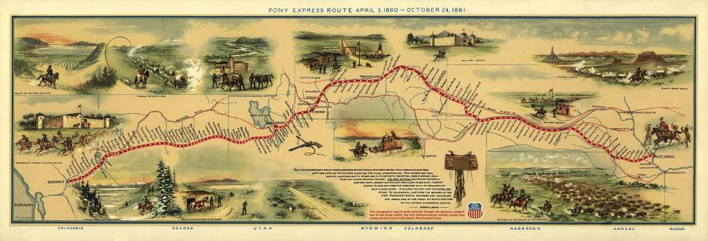 Pony Express Map William Henry Jackson