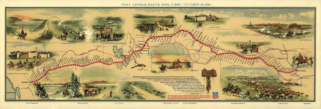 Pony Express Map William Henry Jackson
