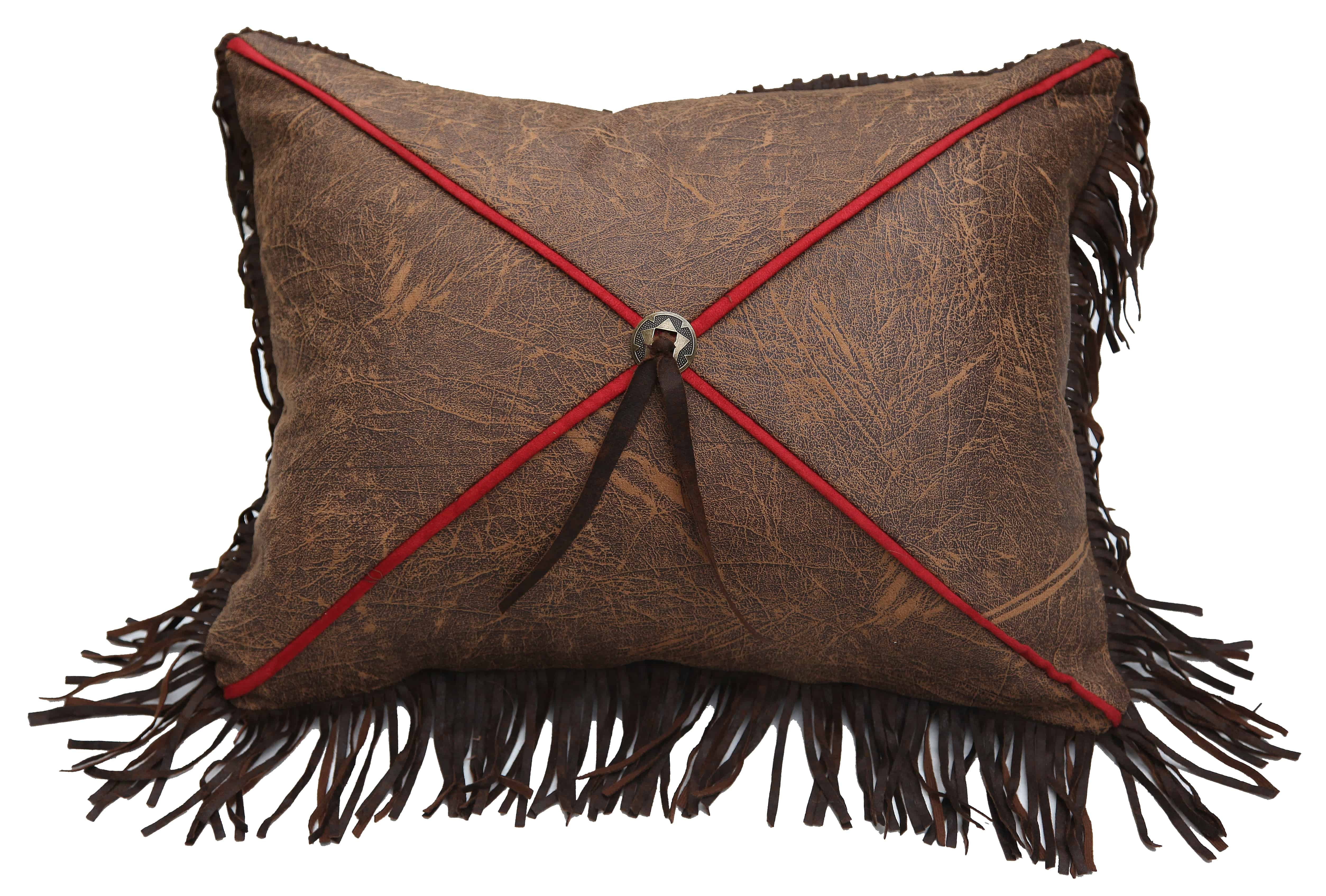 x design faux leather pillow 16 x21 wyoming home