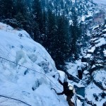 Early season ice climbing in the central gorge of Shell Canyon