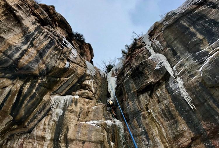 Smug Doug is a fun moderate mixed climb in Shell Canyon Wyoming