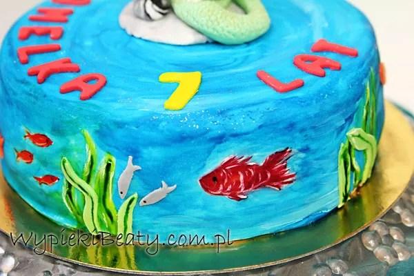 tort z małą syrenka arielką the little mermaid cake