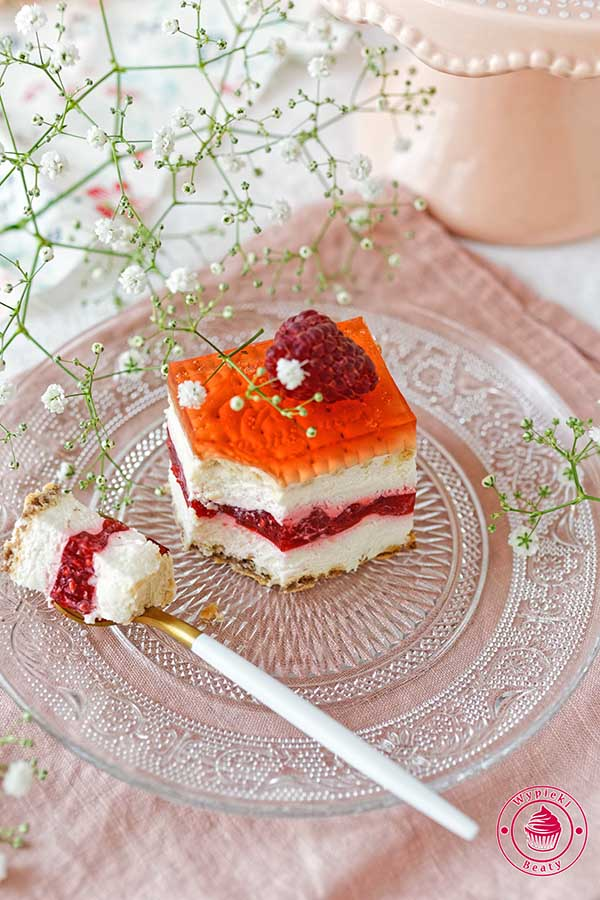 ciasto na zimno z malinami