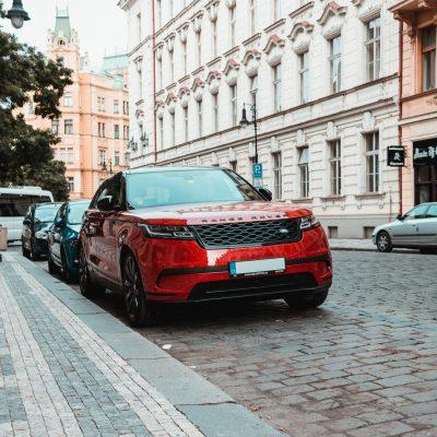 range rover parked on cobbled street