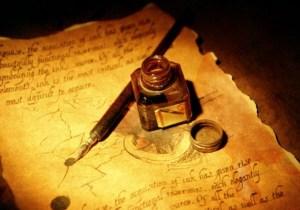 Plume page ecriture jaune