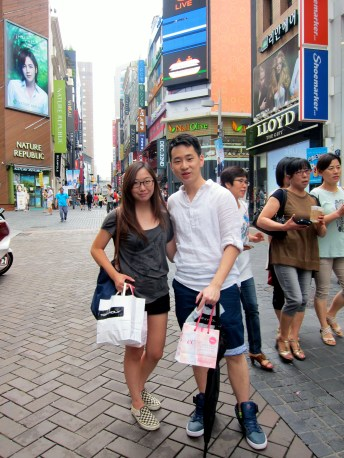 Alvin & I taking an obligatory picture at the MyeongDong intersection.
