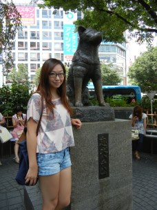 At the famous Hachiko statue at Shibuya Stn.