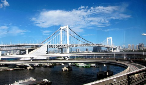 View of Rainbow Bridge on our way to Odaiba.