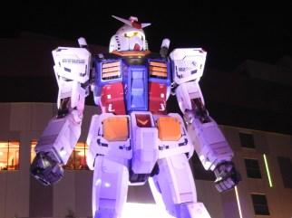 Giant Gundam at night