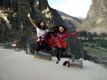 Jumping at the Ollantaytambo ruins