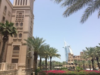 Burj Al Arab is visible from Madinat Jumeirah