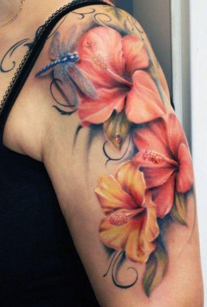 Tatuaż Kwiaty I Ważki Blog Z Tatuażami