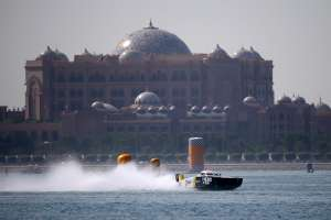 ABU DHABI, UNITED ARAB EMIRATES - NOVEMBER 26:  Arif Al Zaffain and Nadir Bin Hendi of XDubai   race for Pole Position during day two of the Abu Dhabi Grand Prix-  the sixth and final round of the UIM XCAT World Series where 14 boats are competing. XCAT, short for extreme catamaran, is one of the most challenging and extreme forms of powerboat racing in the word at Abu Dhabi International Marine Sports Club on November 26, 2015 in Abu Dhabi, United Arab Emirates.  (Photo by Francois Nel/Getty Images for XCAT) *** Local Caption *** Arif Al Zaffain; Nadir Bin Hendi