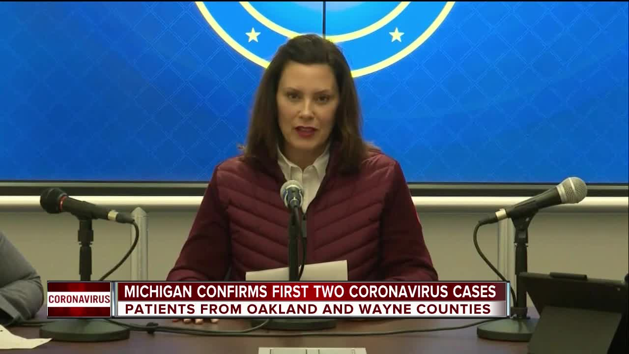 First cases of coronavirus confirmed in Michigan; Whitmer declares ...