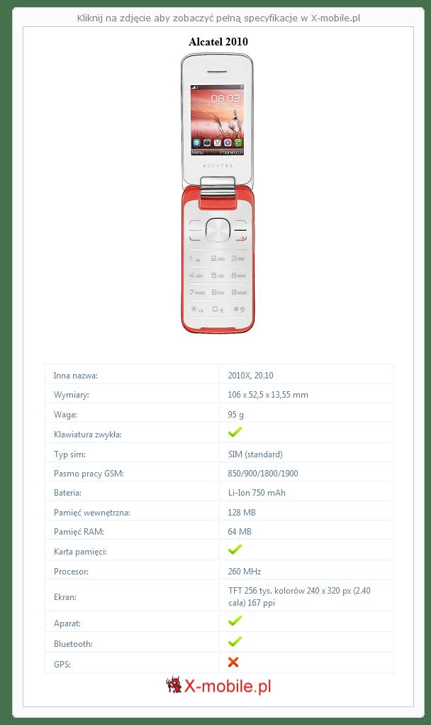 Alcatel 2010 Galeria telefonu :: X-mobile.pl (2010X, 20.10)