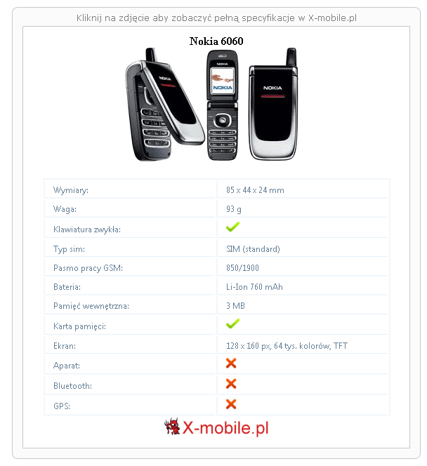 Nokia 6060 Galeria telefonu :: X-mobile.pl