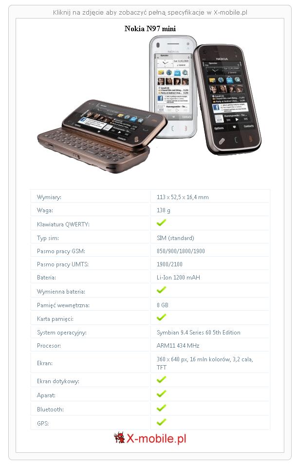 Nokia N97 mini Galeria telefonu :: X-mobile.pl (Telefon z