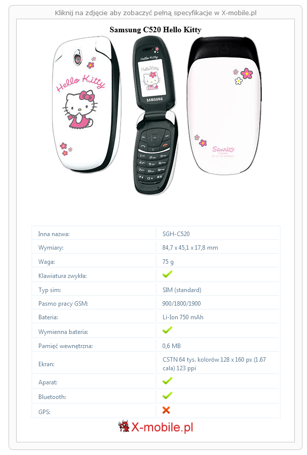 Samsung C520 Hello Kitty Galeria telefonu :: X-mobile.pl