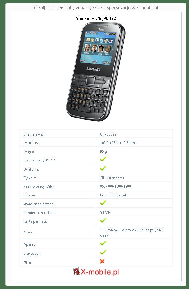 Samsung Ch@t 322 Galeria telefonu :: X-mobile.pl (GT-C3222