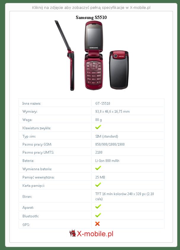 Samsung S5510 Galeria telefonu :: X-mobile.pl (GT-S5510)