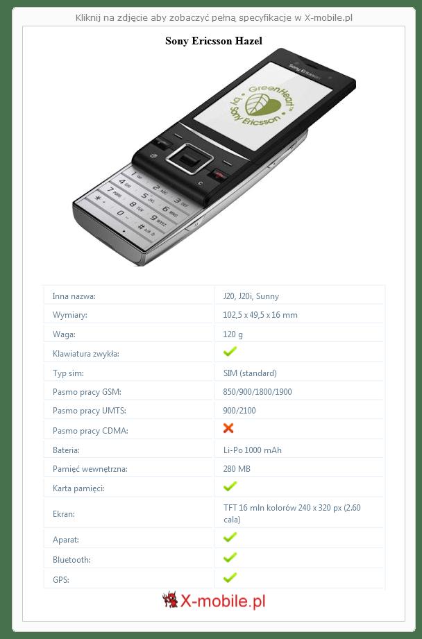 Sony Ericsson Hazel Galeria telefonu :: X-mobile.pl (J20