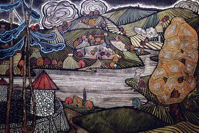 Bronicya iz serii Podorogh Ukrainoyu. 1972. Linogravyura, akvarely