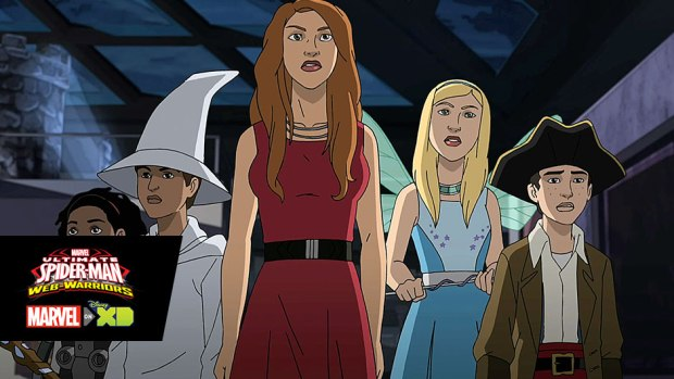 The cast of Disney's Jessie in Marvel's Ultimate Spider-Man: Web-Warriors