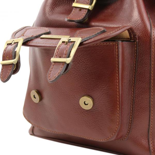 TUSCANY LEATHER backpack with front pocket and rigid ...