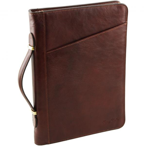 TUSCANY LEATHER document case A4 portfolio with rings and ...