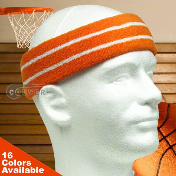 Basketball Headband Pro 2 Color Stripe Sweatband