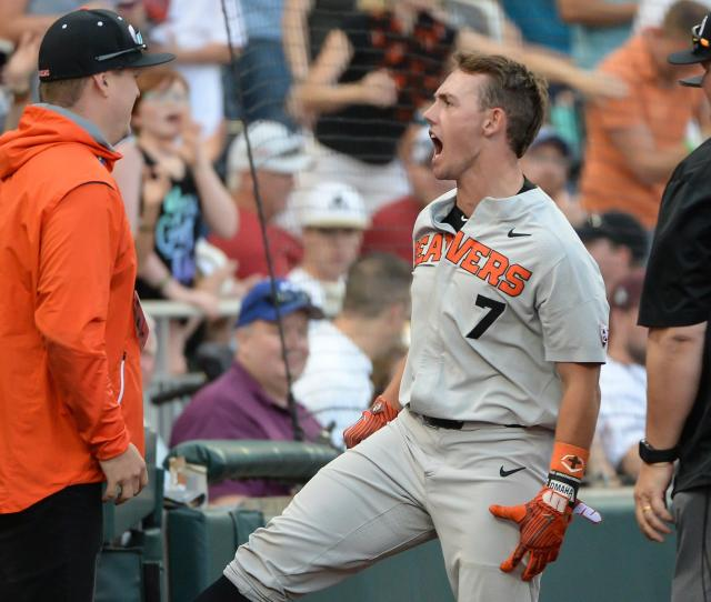 College World Series Oregon State Advances To Championship Series After Defeating Mississippi State Once Again Pac 12
