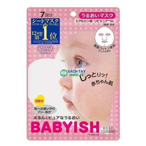 Mặt nạKOSE Clear Turn Babyish Moisture Mask màu hồng.