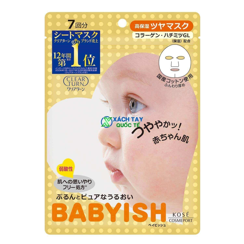 Mặt nạKOSE Clear Turn Babyish Plumping Mask màu vàng.