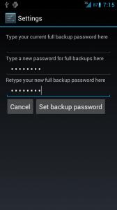 Desktop backup password