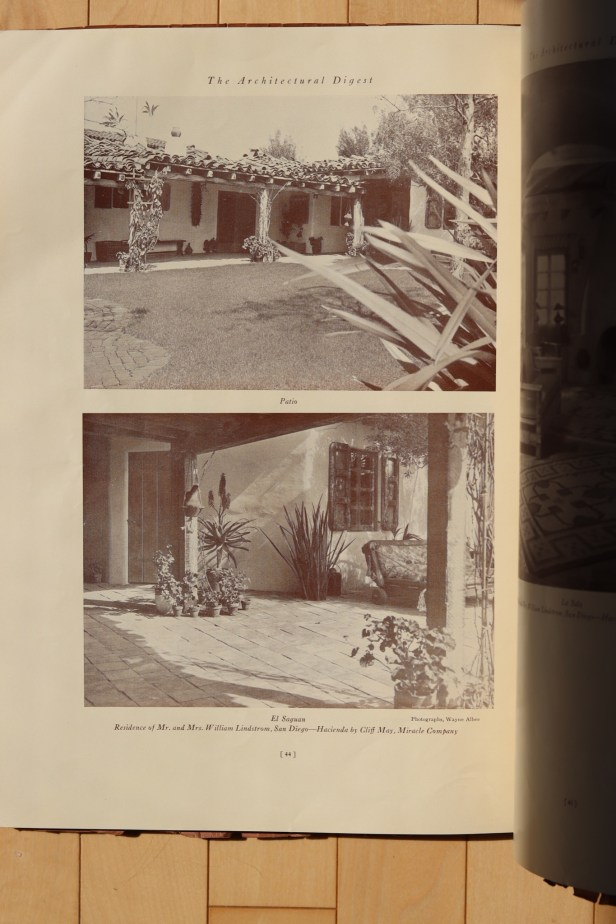 Patio and El Saguan at the Lindstrom House by Cliff May in Architectural Digest (1934).