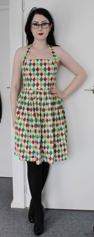Harlequin dress with halterneck and full gathered skirt.