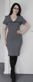 Navy blue and white striped sailor style pencil dress.