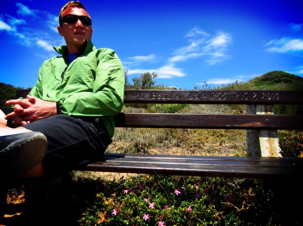 On a special lookout bench... overlooking the ocean!!!