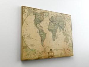 χάρτης σε καμβά με τελάρο