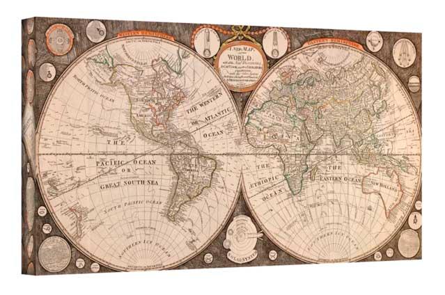 χάρτης αντίκα σε καμβά με τελάρο