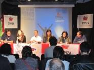 2012/10/26: Εκδηλωση ΣΥΡΙΖΑ-ΕΚΜ στο Παρισι. Απο αριστερα: Δ. Τσουκαλας, οι δυο συντονιστες, Ζ. Κωνσταντοπουλου, Θ. Φωτιου, Β. Χατζηλαμπρου
