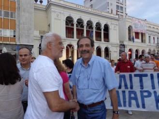 2013/07/05: Ο Β. Χατζηλαμπρου στο συλλαλητηριο για την υπερασπιση της ΕΡΤ στην Πατρα