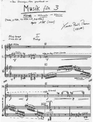 Partiturseite: MUSIK FÜR 3- Trio für Flöte(n), Violoncello und Klavier von Xaver Paul Thoma