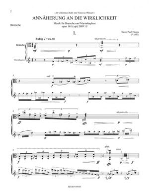 """Partiturseite: xpt 161. """"Annäherung"""" für Viola und Marimbaphon"""