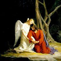 Antes del arresto Esta pintura del danés Carl Heinrich Bloch muestra como, según cuenta la Biblia, un ángel consoló a Jesús antes de su arresto en Getsemaní.