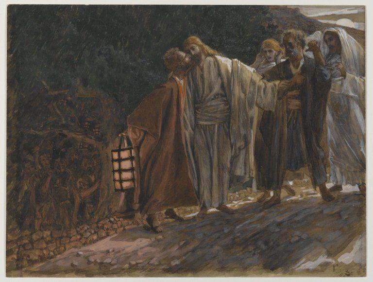 El beso de la traición Según los textos aceptados por la Iglesia, Judas Iscariote besó a Jesucristo para señalar a quién debían detener y juzgar. Así lo plasmó