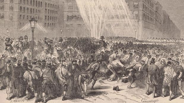 Boceto de la Noche de San Daniel, 10 de abril de 1865. (Bordier)